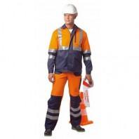Костюм АСФАЛЬТ МАСТЕР 104-0006-76 флуоресцентный оранжевый с темно-синим