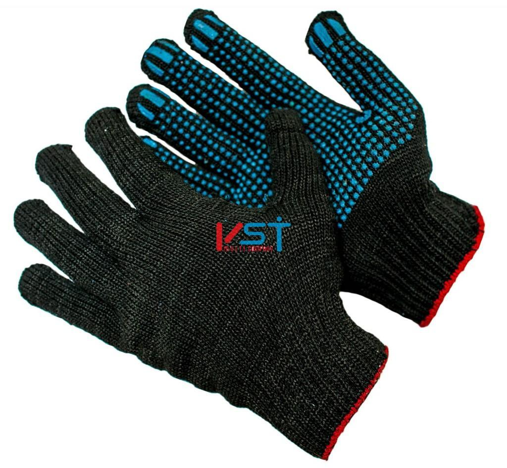 перчатки ХБ с ПВХ 10 класс 4 нити черные