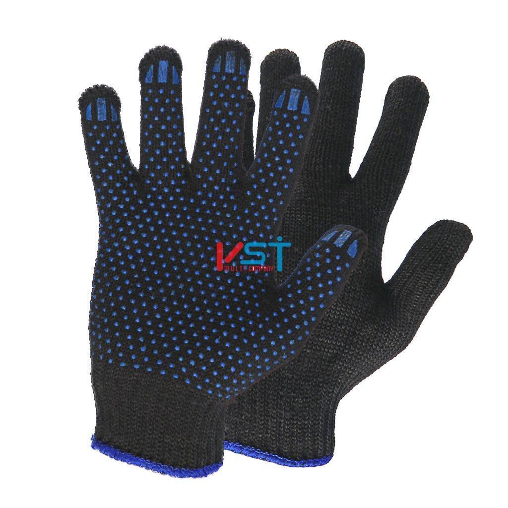 перчатки ХБ с ПВХ 10 класс 5 нитей черные