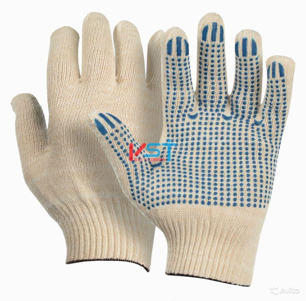 перчатки ХБ с ПВХ 10 класс 6 нитей белые