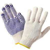 перчатки ХБ с ПВХ 7,5 класс 7 нитей белые