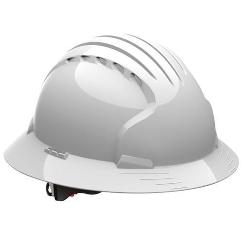 Каска защитная JSP ЭВО 6100 с козырьком по кругу белая AJP170-000-100