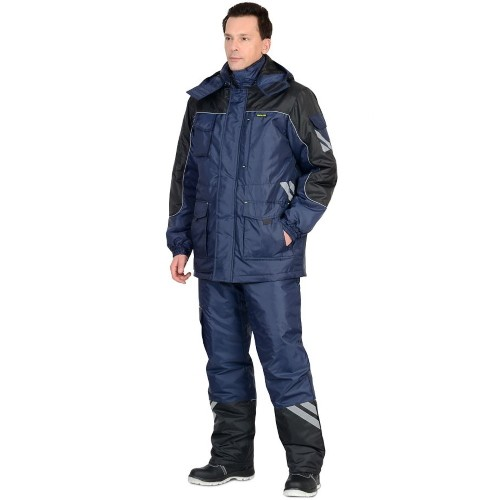 Костюм ФОТОН зимний: куртка брюки тёмно-синий с черным и СОП 02809