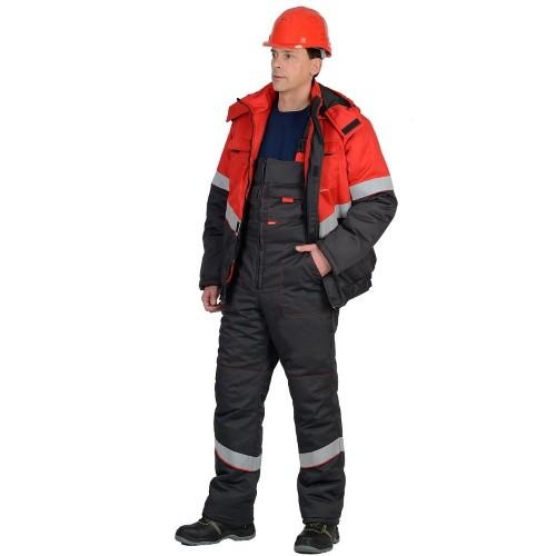 Костюм НАВИГАТОР зимний: куртка кор., п/комб. серый с красным и СОП 02791