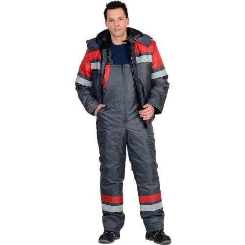 Костюм ОРБИТА зимний: куртка, п/комб. серый с красным и СОП 02668