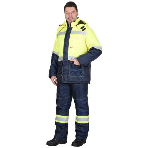 Костюм ТЕРМИНАЛ зимний: куртка, п/комб. лимонный с синим тк. Оксфорд 03770