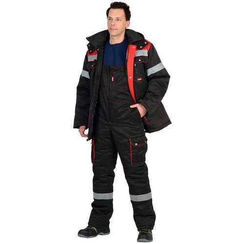 Костюм ТИТАН зимний куртка дл., п/комбинезон черный с красным и СОП 02322