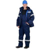 Костюм ТИТАН зимний куртка дл., п/комбинезон темно-синий с васильковым и СОП 103032