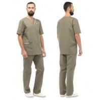 Комплект ЮНИК мужской (блуза и брюки) оливковый 171952