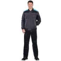 Куртка СИРИУС ПРЕСТИЖ серый с черным и голубым 119008