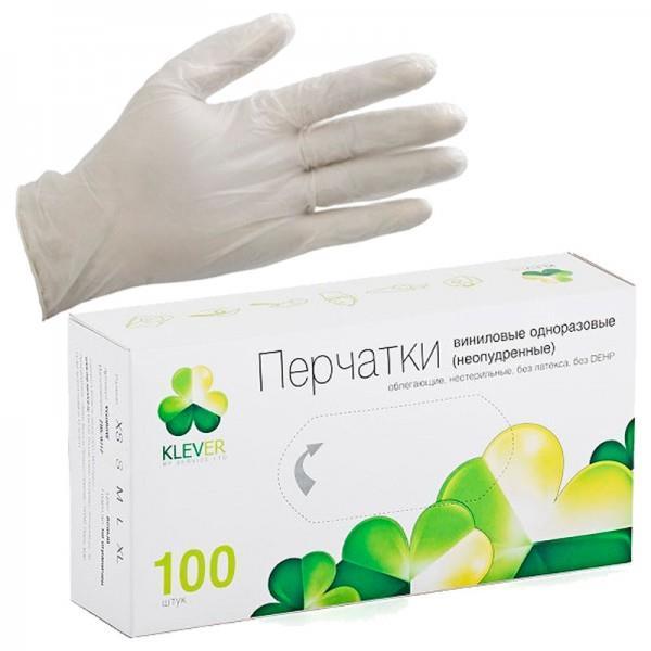Перчатки KLEVER одноразовые смотровые виниловые неопудренные нестерильные